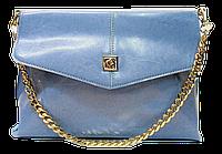 Прямоугольная женская сумочка из натуральной кожи голубого цвета BBD-223112