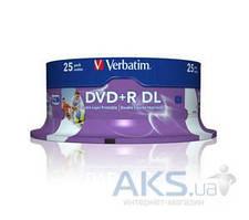 Диск Verbatim DVD+R DL 8.5Gb 8x Cake 25 Printable