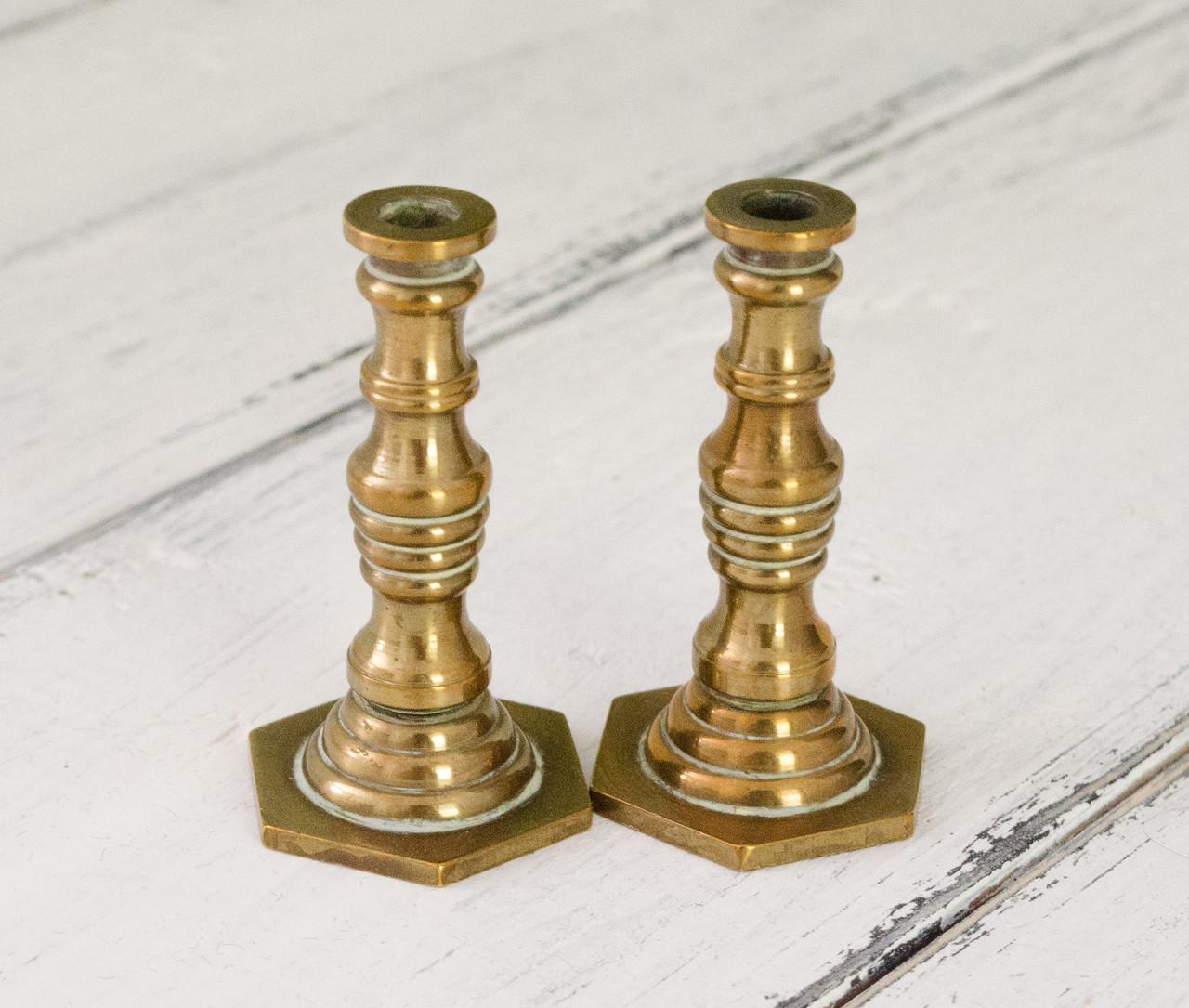 Коллекционная миниатюра, два миниатюрных подсвечникиа, латунь, Германия