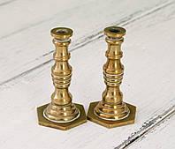Коллекционная миниатюра, два миниатюрных подсвечникиа, латунь, Германия, фото 1
