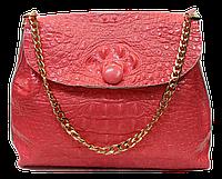 Женская сумочка из натуральной кожи под крокодила кораллового цвета GGD-826733, фото 1