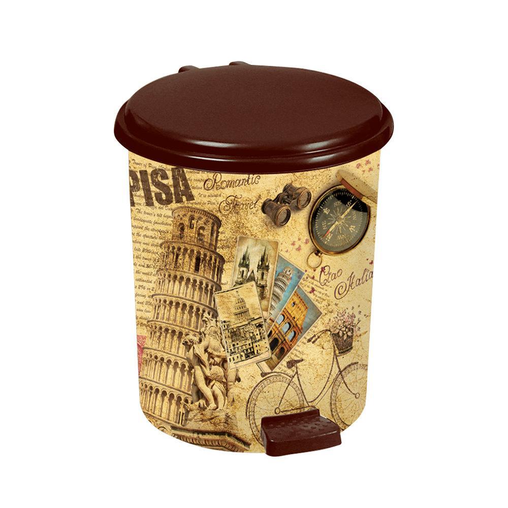 Пластиковое ведро для мусора с педалью коричневое 14 л