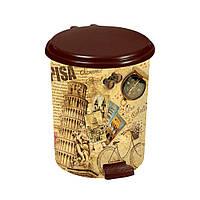 Пластиковое ведро для мусора с педалью коричневое 14 л, фото 1