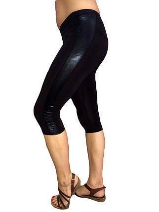 Женские капри микромасло №323 черные с карманами и вставками с узором, фото 2