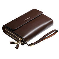 Клатч Teemzone S3348-2 коричневый (2-е ручки и 2-е молнии)