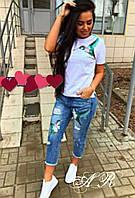 Костюм (Фабричный Китай) качество люкс джинсы +футболка аппликация вышивка
