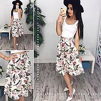 Женский модный костюм: топ и юбка-миди (расцветки), фото 1