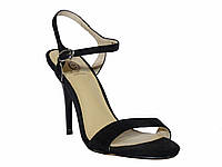 Замшевые женские босоножки на каблуке с удобной колодкой (черные)