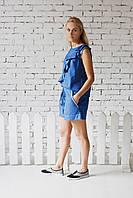 Джинсовый женский костюм с вышивкой