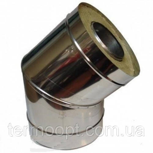 Колено 45° из нержавеющей стали с теплоизоляцией в оцинковке диаметром 160/220