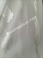 Тюль батист с белым декором