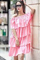 Платье Бьянка с рюшами из атлас-шелка цвет розовый