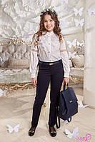 Школьные брюки Илана Suzie с манжетом на девочку. Размеры 122 - 158 Цвет синий