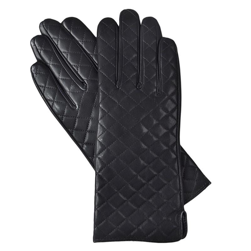 Красивые черные перчатки женские на плюше PERCH-3