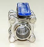 Кран шаровый нержавеющий трехсоставной приварной AISI304 Ду08 Ру63, фото 8