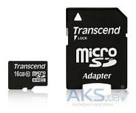Карта памяти Transcend 16GB microSDHC Class 10 + SD Adapter (TS16GUSDHC10)