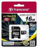Карта памяти Transcend 16GB microSDHC Ultimate Class 10 UHS-1 + SD Adapter (TS16GUSDHC10U1)