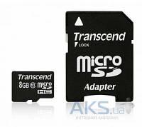Карта памяти Transcend 8GB microSDHC Class 10 + SD Adapter (TS8GUSDHC10)