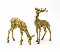 Две латунные статуэтки, олени, латунь, Англия, пара, фото 1