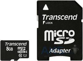 Карта памяти Transcend 8GB MicroSDHC  (Class 10) Premium UHS-I (R45MB/s) + SD адаптер (TS8GUSDU1)