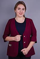 Карина. Стильный пиджак женский супер батал. Бордо., фото 1