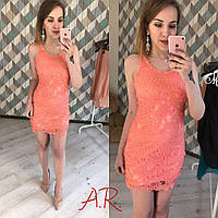 Кружевное платье-туника размер С цвет нежный корал.
