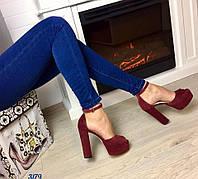 Женские босоножки на каблуку 13 см, материал натуральная замша, удобная колодка. Цвет марсала