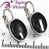 Серьги (франц. заст.) с керамикой Овал, круг-1,5 см