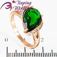 Кольцо позолота Капля-камень (под наклон.) в оправе, +мелк. камни