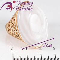 Кольцо лимонное золото Перстень с белым камнем