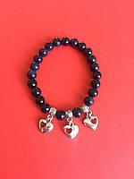 Браслет из камня Авантюрин синий с талисманом Сердце