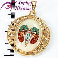 Подвеска лимонное золото Знаки Зодиака (Овен) - с цветным изображением