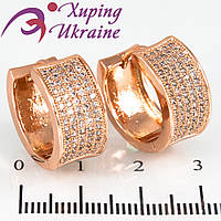 Серьги позолота Широкое полукольцо (вогнутое) 5 рядов мелк. камней-россыпь