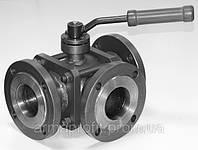 Кран шаровый стальной трехходовой фланцевый L/T-порт сталь 20 Ду100 Ру25