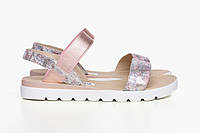 Летние женские сандалии из натуральной кожи с принтом