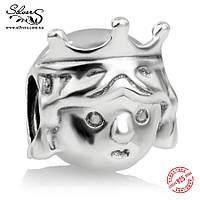 """Серебряная подвеска-шарм Пандора (Pandora) """"Маленькая принцесса"""" для браслета"""