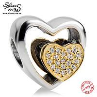 """Серебряная подвеска-шарм Пандора (Pandora) """"Союз любящих сердец"""" для браслета"""