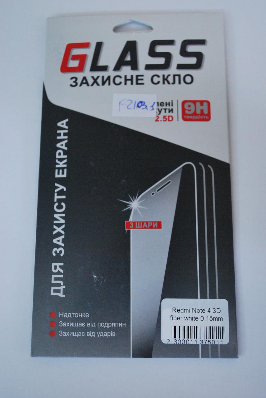 Захисне скло 3D Fiber Tempered Glass for XIAOMI Redmi Note 4 біле, F2103.1
