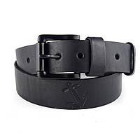 Мужской кожаный ремень W-01 (черный) (4 см)