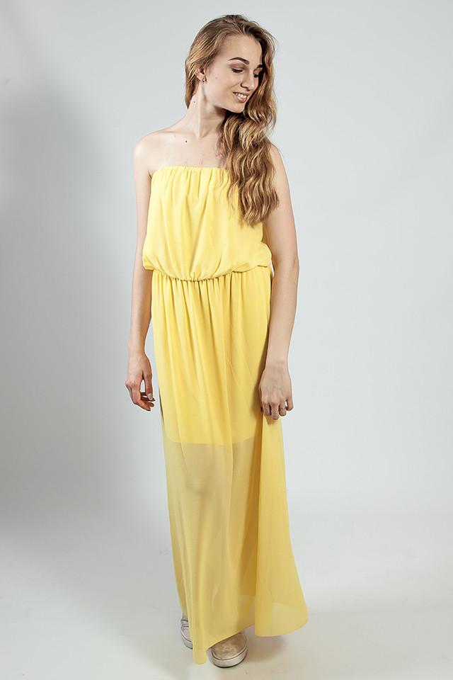 Платье женское   вечернее в пол желтое коктельное выпускное  на бретелях  XTSY