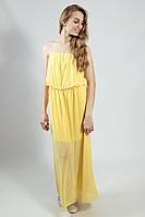 Платье  вечернее в пол желтое коктельное выпускное  на бретелях  XTSY