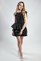 Платье черное с воланами вечернее коктельное выпускное летнее  короткое Rinascimento