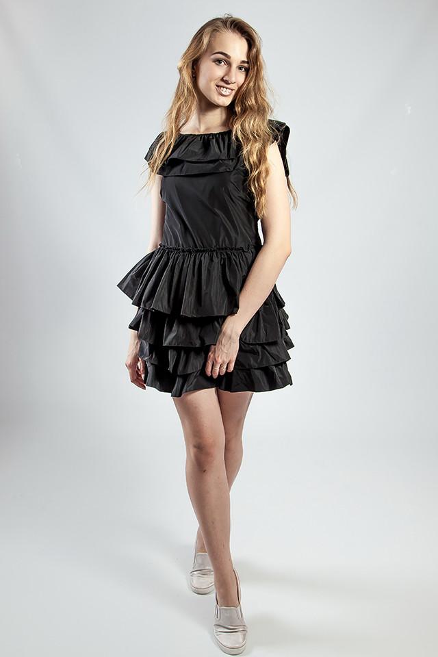 Женское платье черное с воланами вечернее коктельное выпускное летнее  короткое Rinascimento