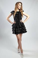 Женское платье черное с воланами вечернее коктельное выпускное летнее  короткое Rinascimento, фото 2