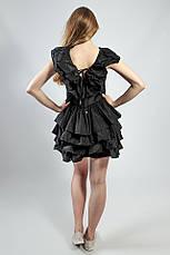 Женское платье черное с воланами вечернее коктельное выпускное летнее  короткое Rinascimento, фото 3