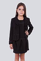 Стильный жакет в школу Гламур на девочку Размер 122- 158 Цвет синий черный серый