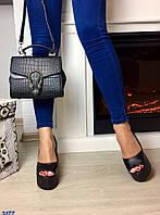 Элегантные женские туфли на танкетке с открытым носком, материал натуральная замша, внутри кожа. Цвет черный
