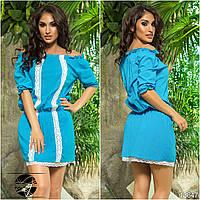 Голубое летнее платье с кружевом. Модель 13647.