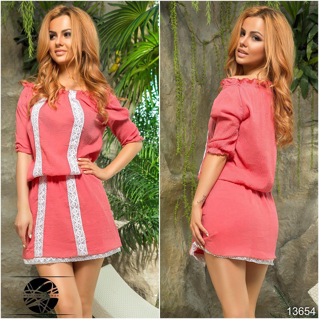 4207eb63721 Купить Коралловое летнее платье с кружевом. Модель 13654. в Одессе ...