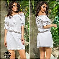 59762ebafba Белое летнее платье с кружевом. Модель 13651.